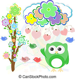 Background with birds, flowers, owls and hearts