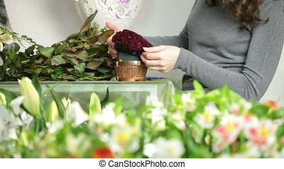 Arranging Valentines Day Rose Heart - Florist Creating Red...