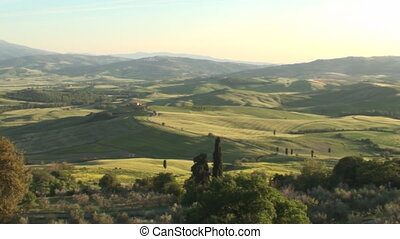 Val d'Orcia in Tuscany at sunset