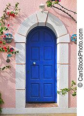 Greek door in blue