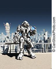 Alien Battle Droid - City Watch - Futuristic science fiction...