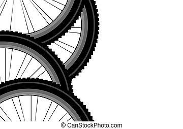 bike front wheel against white background
