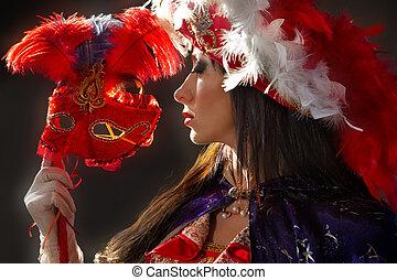 mujer, colorido, medieval, disfraz