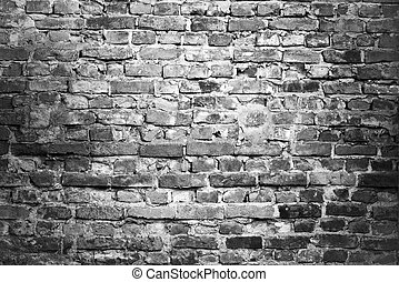 brick wall - background - brick wall - black white...