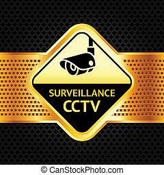 Cctv symbol on a metallic perforated background, vector...