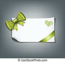 Green ribbon and white paper design background, vector...