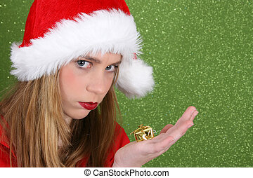 Christmas Teen - Teenager with red lips wearing a christmas...