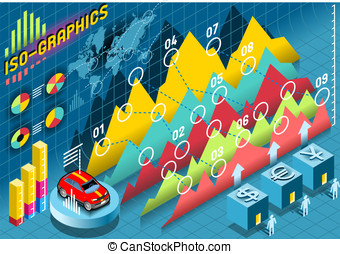 Isometric Infographic Histogram Set Elements with car -...