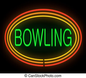 Bowling concept. - Illustration depicting a neon signage...