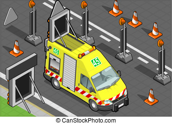 isometric roadside assistance truck - Detailed illustration...