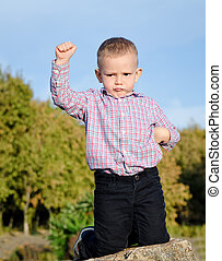 Triumphant little boy raising his fist in the air after...