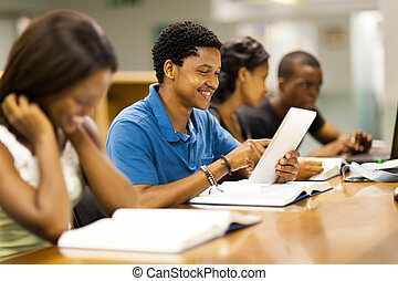 male african american college student - happy male african...