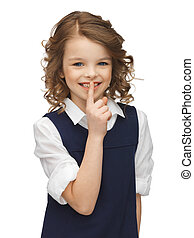 pre-teen girl showing hush gesture - picture of beautiful...
