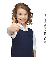 pre-teen girl showing thumbs up - picture of beautiful...