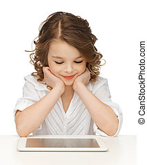 girl with tablet pc - picture of beautiful girl with tablet...