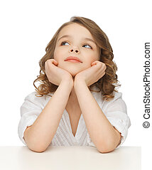 pre-teen girl in casual clothes - picture of thinking...