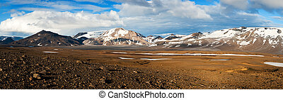 Mountains on Iceland - Mountains covered by icy glaciers on...