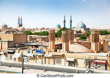 View of ancient city of Yazd, Iran - Panoramic view of...