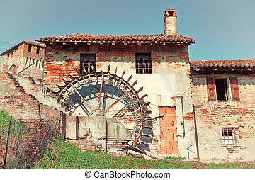 water mill - detail of water mill in soncino
