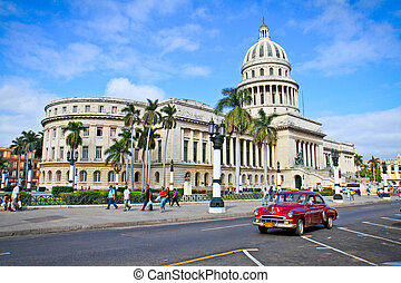 Classic cars in front of the Capitol  in Havana.