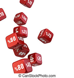 Discount -Sale Dice Falling Down, isolated on white background