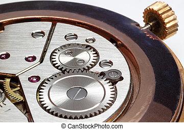 Primer plano, reloj, engranajes