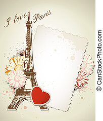 Old frame and Eiffel tower - Vector background with old...