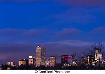 Downtown Denver - Denver skyline at sunrise in the winter.