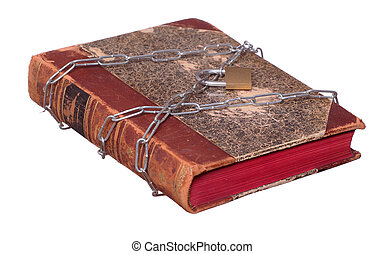 old book protected with chain and padlock