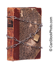 old historic book protected with padlock and chain