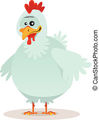 Cute Chicken Character - Illustration of a cute cartoon...