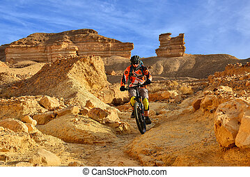 Mountain biker in a desert - Mountain biker in a mountainous...