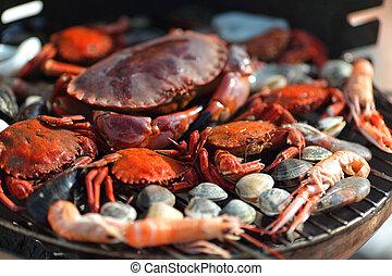 caranguejos, Camarões, carvão, churrasqueira