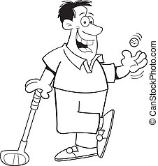 Cartoon Man Playing Golf (Black and - Black and white...