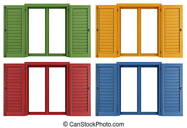 colorful windows - Set of colorful windows isolated on white...