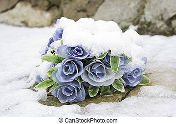Blue Flowers - Blue flowers with snow over nature and winter...