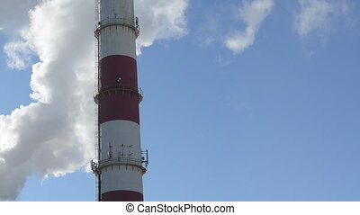 boiler house chimney - white smoke fume vapour rise...