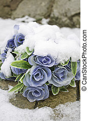 Flowers snowfall - Blue flowers with snow over nature and...
