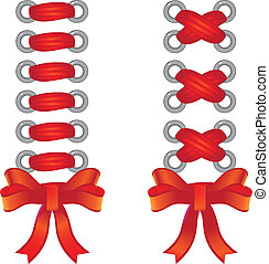 Lacing of red tape - Two species of the red ribbon lacing....
