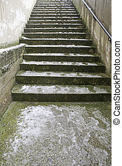 Stairs snowfall - Stairs snowy and wet with frost,...