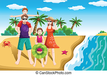 Family vacation - A vector illustration of a happy family...