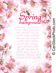 Spring background with cherry blossom