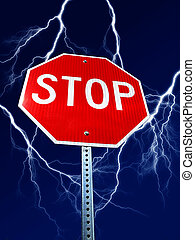 Danger Stop Sign with Lignthing - Stop sign with bolts of...