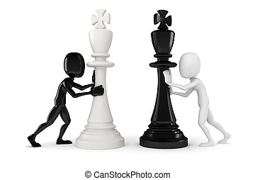 3d man pushing a king chess figure
