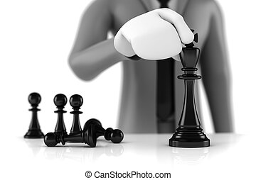 3d man businessman moving a king chess figure with few pawns...