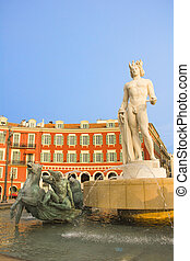 Place Massena in Nice with the Fontaine du Soleil and the...