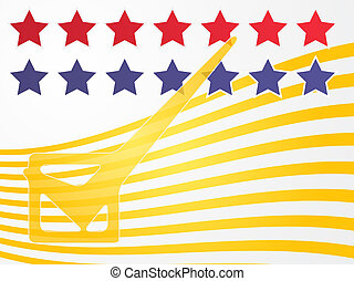 USA election voting illustration - Checkmark over stars and...