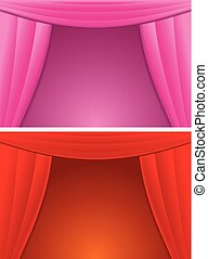 Elegance Red and Pink Curtain. Vector Illustration