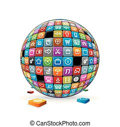 Abstract Sphere with Application Icons. Vector Image