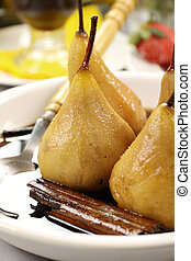 Poached Pears And Cinnamon - Delicious poached pears with a...